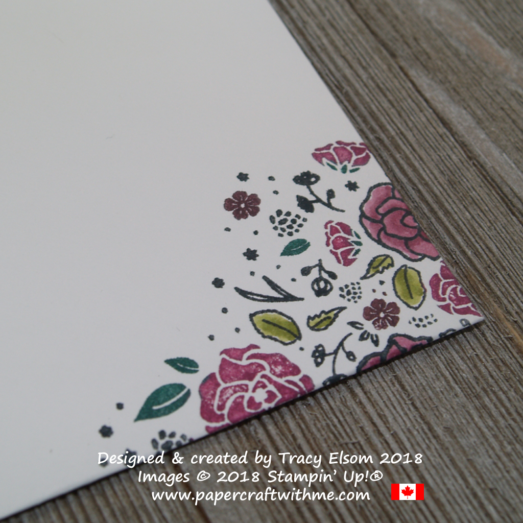 Corner of floral envelope corner created using the Wood Words Stamp Set from Stampin' Up!