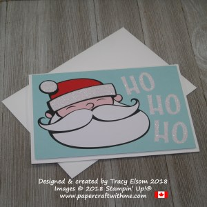 Simple Santa Christmas card with Ho-ho-ho sentiment created using the Santa's Workshop Memories & More Card Pack from Stampin' Up!