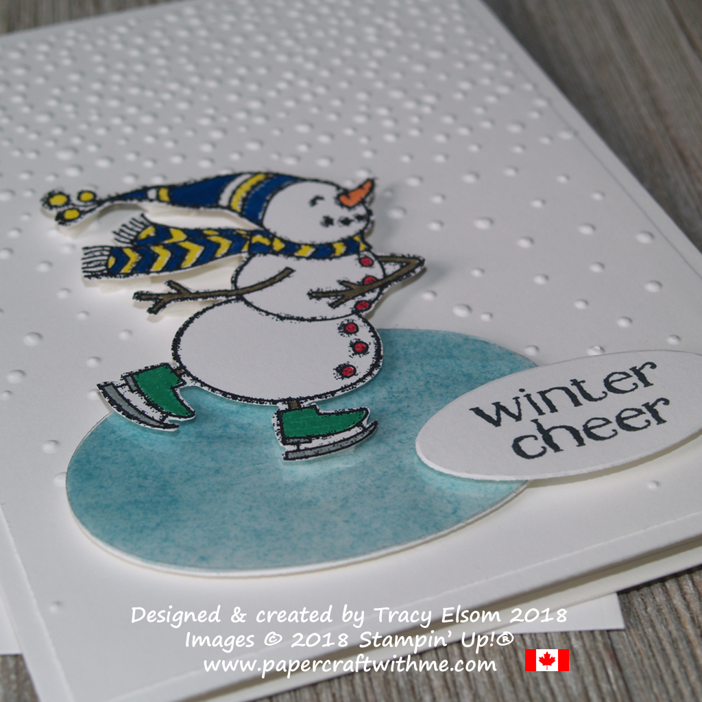 Close up of snowman pond skater created using the Spirited Snowmen Stamp Set from Stampin' Up!