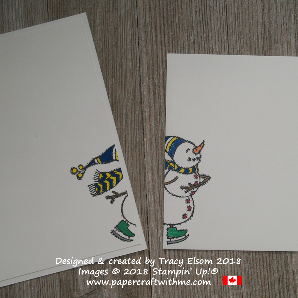 Inside and envelope of card with skating snowman created using the Spirited Snowmen Stamp Set from Stampin' Up!