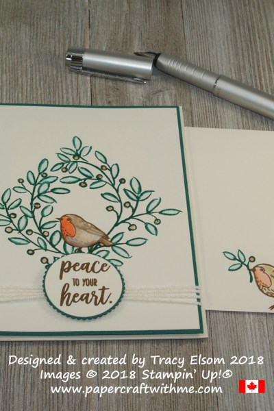 Simple card with a square wreath reath, robin and peace to your heart sentiment created using the Feathers & Frost Stamp Set from Stampin' Up!