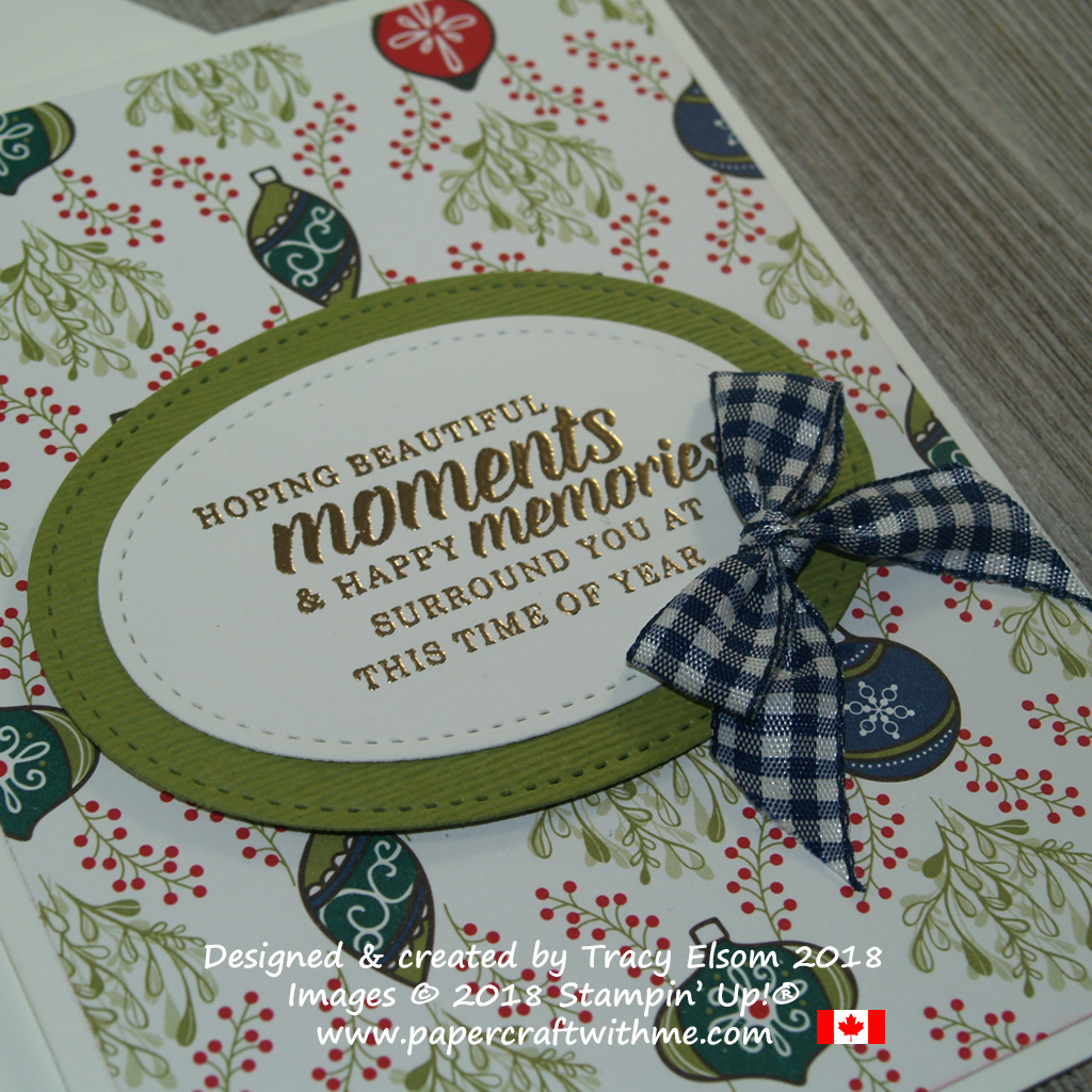 Close up of beautiful moments Christmas card created using the Timeless Tidings Stamp Set from Stampin' Up!