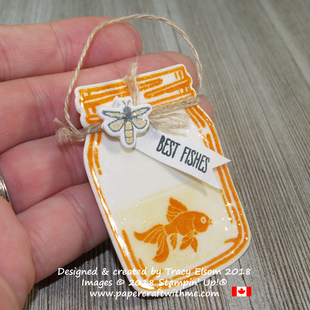 Best fishes jam jar shaped gift tag created using the Jar of Love Stamp Set from Stampin' Up!