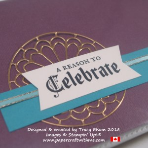 Close up of pocket photo album showing copper foil die-cut element and gothic script sentiment from the Painted Glass Stamp Set from Stampin' Up!