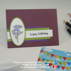 Birthday gift card envelope with a watercoloured gerbera from the In Every Season Stamp Set from Stampin' Up!