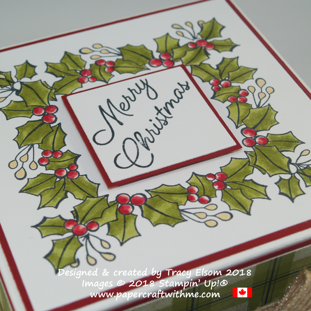 Close up of square holly wreath created using the Blended Seasons Stamp Set from Stampin' Up!