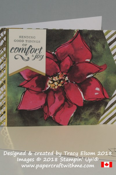 Alternate Christmas card design created using the Timeless Tidings Project Kit from Stampin' Up! The comfort and joy sentiment is from the coordinating stamp set.