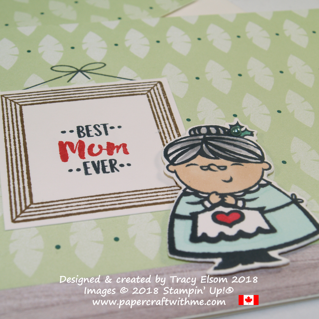 Close up of Best Mum ever card created using the Apron of Love, Letter Board Messages and Signs of Santa Stamp Sets from Stampin' Up!