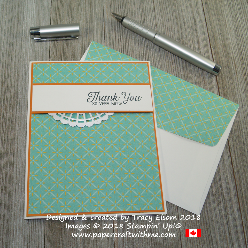 Simple card with thank you so very much sentiment from the Flourishing Phrases Stamp Set and patterned Tea Room Specialty Designer Series Paper from Stampin' Up!