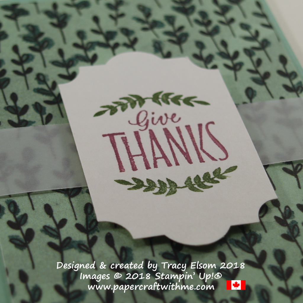 Close up of give thanks sentiment from the Labels To Love Stamp Set in two colours using Stampin' Write Markers.
