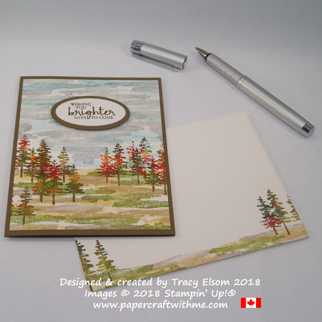 Trees from Waterfront Stamp Set in autumn colours with wishing you brighter days sentiment from Beautiful YouCard featuring trees in autumn colours from the Waterfront Stamp Set, with wishing you brighter days sentiment from the Beautiful You Stamp Set from Stampin' Up!