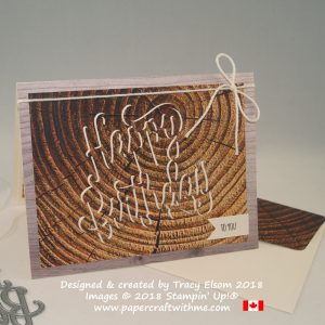 Masculine birthday card using the eclipse technique with tree ring design from the Wood Textures DSP from Stampin' Up!