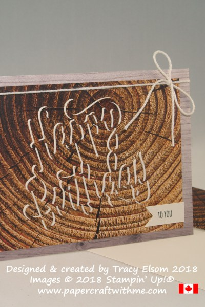 Masculine birthday card using the eclipse technique with tree rings design from the Wood Textures DSP from Stampin' Up!