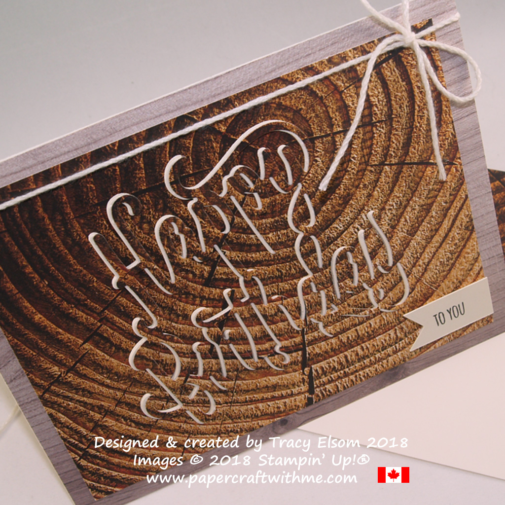 Close up of masculine birthday card using the eclipse technique with tree ring design from the Wood Textures DSP from Stampin' Up!