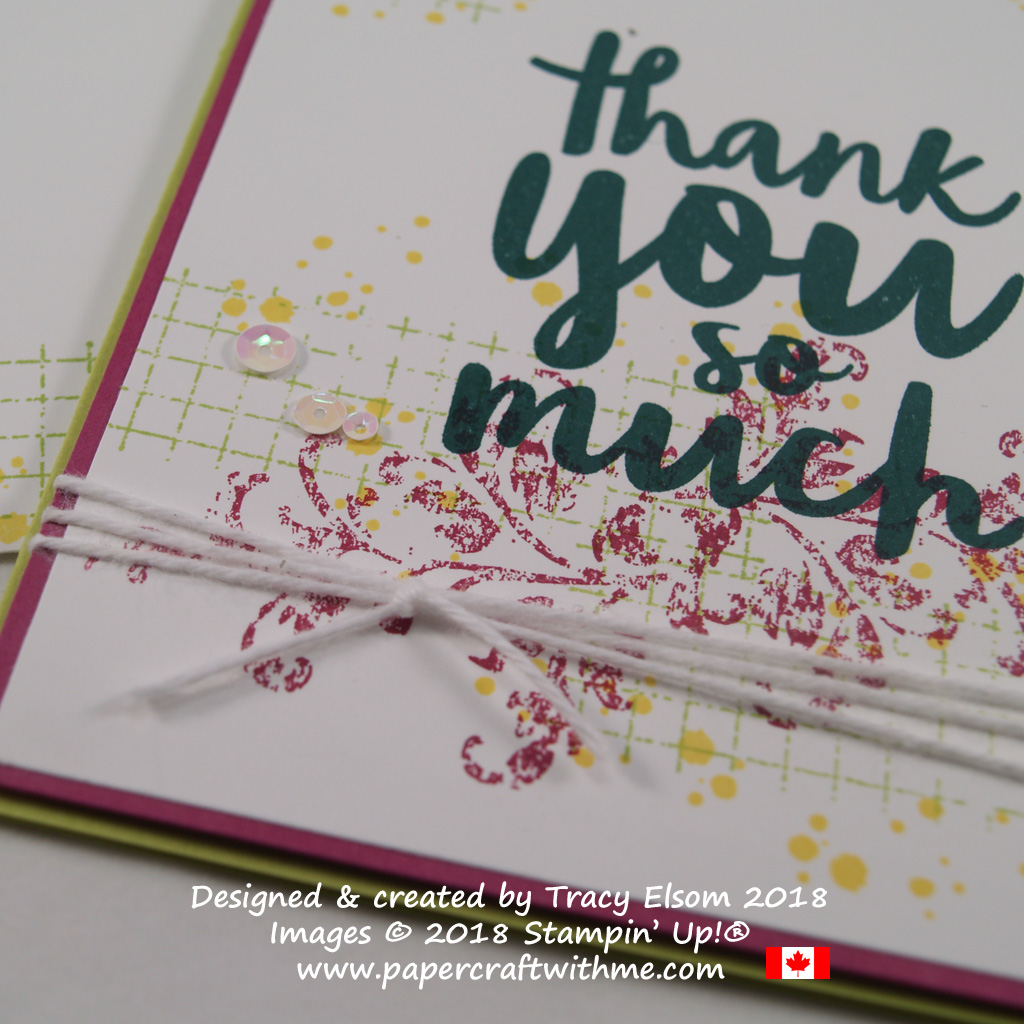 Close up of simple thank you card created using the Timeless Textures and Thankful Thoughts Stamp Sets from Stampin' Up!