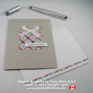 Simple DSP present birthday card created using the Under The Mistletoe Designer Series Paper and Happy Birthday Gorgeous Stamp Set from Stampin' Up!