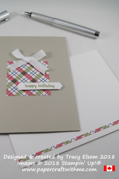 Simple present birthday card created using the Under The Mistletoe Designer Series Paper and Happy Birthday Gorgeous Stamp Set from Stampin' Up!