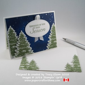Sponged night sky background and stamped fir trees on this Thinking of You This Season card using the Winter Woods Stamp Set from Stampin' Up!