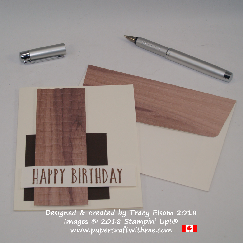 Masculine birthday card using Wood Textures DSP, Basket Weave Dynamic Textured Impressions Embossing Folder and Perennial Birthday Stamp Set from Stampin' Up!