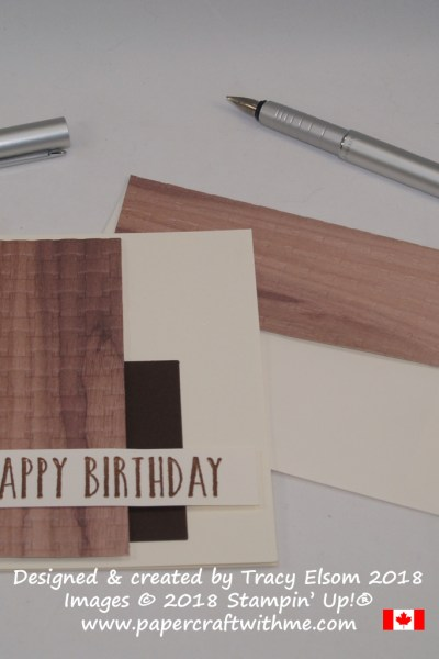 Masculine birthday card using Wood Textures DSP, Basket Weave Dynamic Embossing Folder and Perennial Birthday Stamp Set from Stampin' Up!