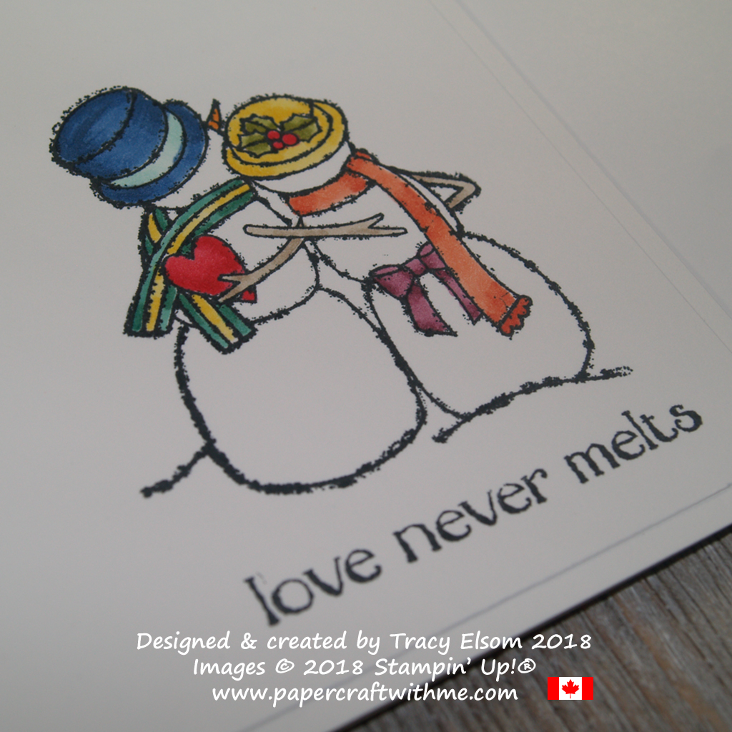 Close up of card created using Stampin' Blends and the Spirited Snowmen Stamp Set with 'love never melts' sentiment.
