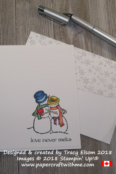 Simple card created using Stampin' Blends and the Spirited Snowmen Stamp Set with 'love never melts' sentiment.