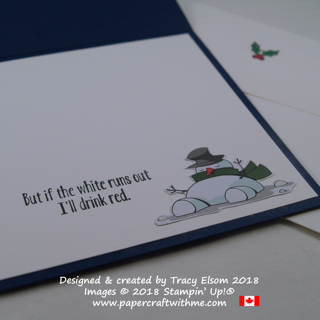 Inside of a humorous snowman Christmas card created for wine drinkers using the Half Full Stamp Set and Santa's Workshop DSP from Stampin' Up!