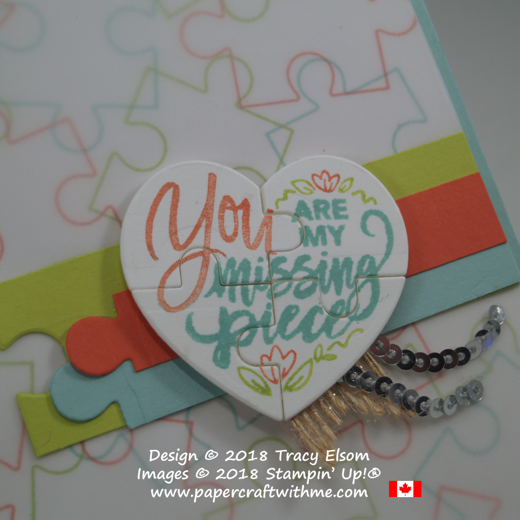 Close up of puzzle heart card created using the Love You To Pieces Stamp Set and coordinating Puzzle Pieces Thinlits Dies from Stampin' Up!