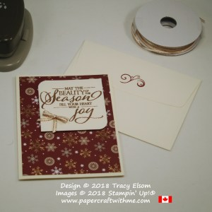Christmas card with copper embossed 'beauty of the season' sentiment from the Merry Christmas To All Stamp Set from Stampin' Up!