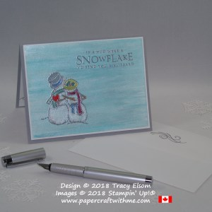 Pearlised blue card for World Diabetes Day featuring the snow couple image from Spirited Snowmen and hug sentiment from Beautiful Blizzard Stamp Sets from Stampin' Up!