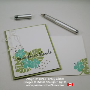 Love and thanks card created on World Card Making Day 2018 using masked images from the Tropical Chic Stamp Set from Stampin' Up!