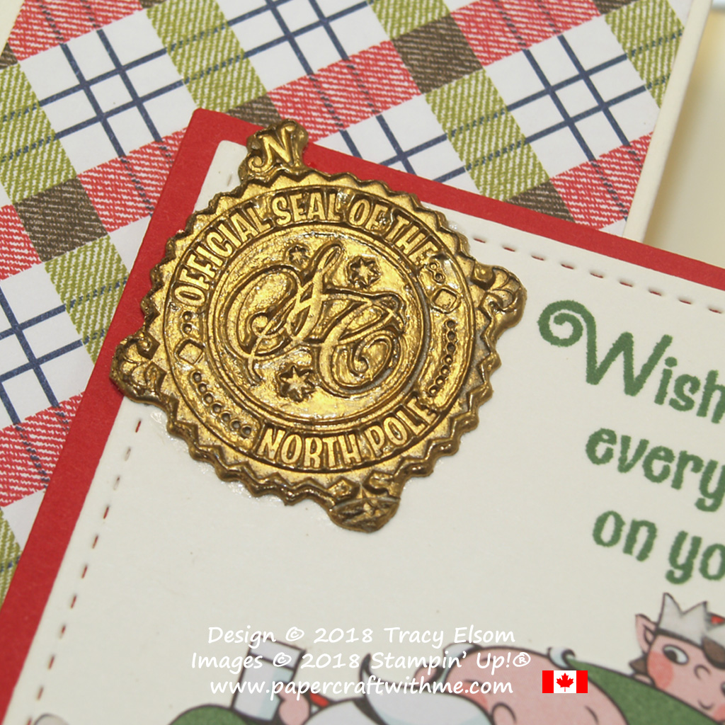 Close up of faux wax seal created using embossing powder.