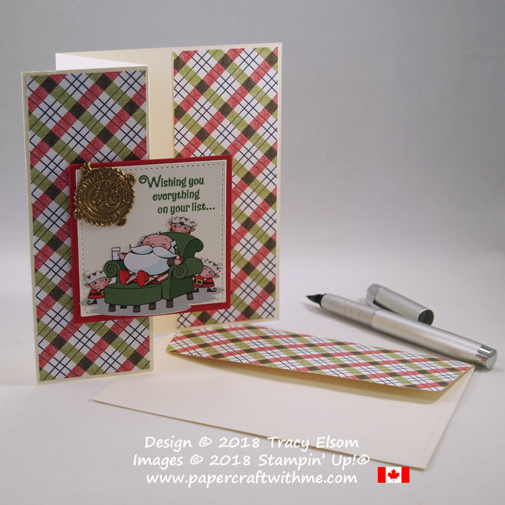 Z-fold Christmas card with faux wax seal created using the Signs of Santa Stamp Set and Santa's Signpost Framelits from Stampin' Up!