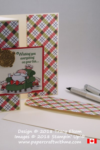 Z-fold Christmas card with faux wax Santa's seal created using the Signs of Santa Stamp Set and Santa's Signpost Framelits from Stampin' Up!