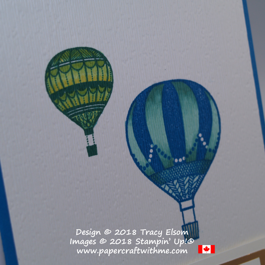 Close up of congratulations card with hot air balloons in an embossed layer created using the Lift Me Up Stamp Set and Subtle Dynamic Textured Impressions Embossing Folder from Stampin' Up!