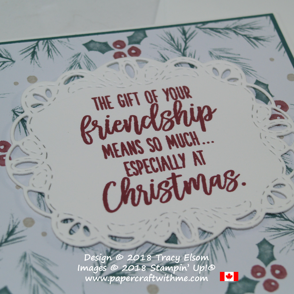 Close up of friendship Christmas card with sentiment from Feathers & Frost Stamp Set on layer die-cut using Stitched Labels Framelits from Stampin' Up!