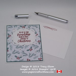 Christmas friendship card with sentiment from Feathers & Frost Stamp Set over patterned paper from the Joyous Noel Designer Series Paper Pack from Stampin' Up!