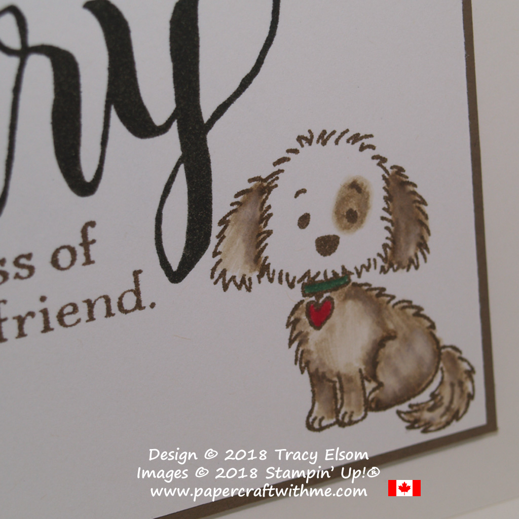 Close up of pet sympathy card created using the dog image from the Bella & Friends Stamp Set from Stampin' Up!