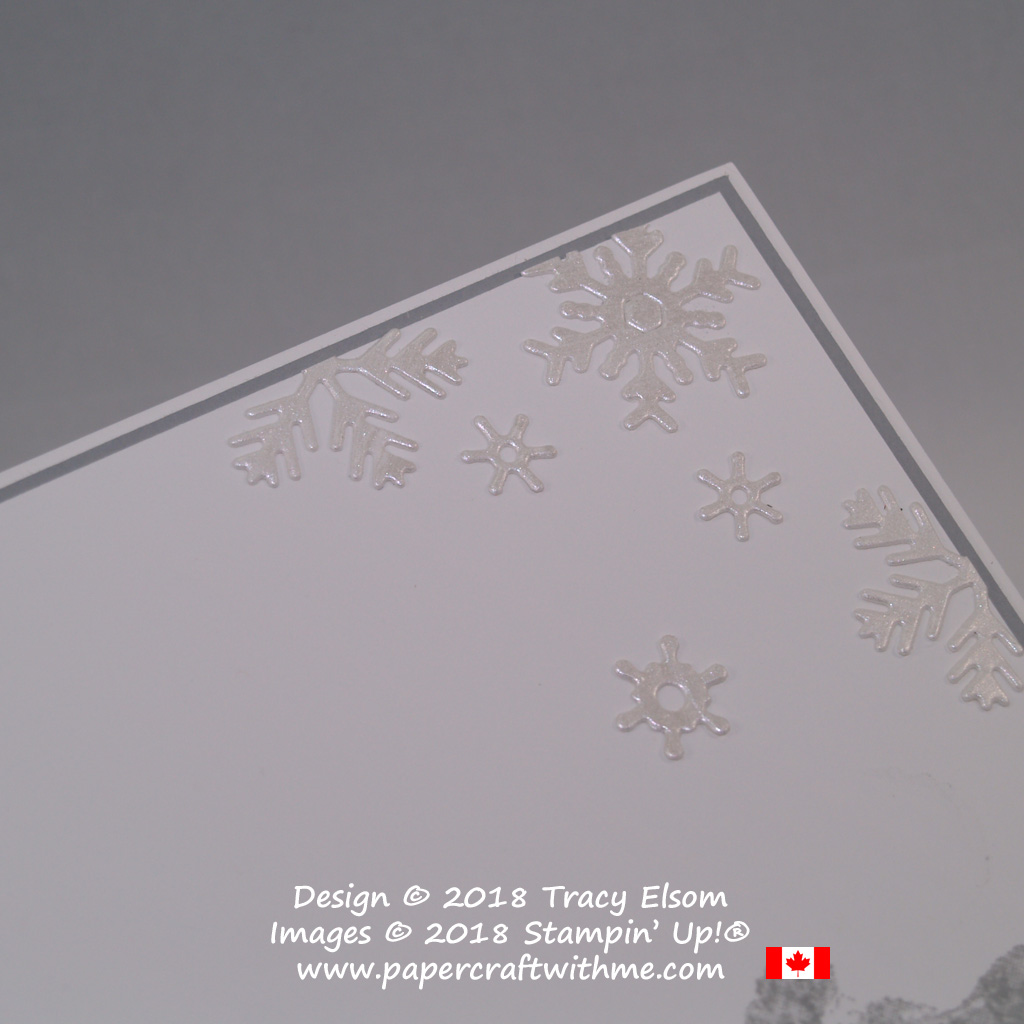 Pearly snowflakes cut using the Blizzard Thinlits Die from Stampin' Up! and painted with Frost White Shimmer Paint.