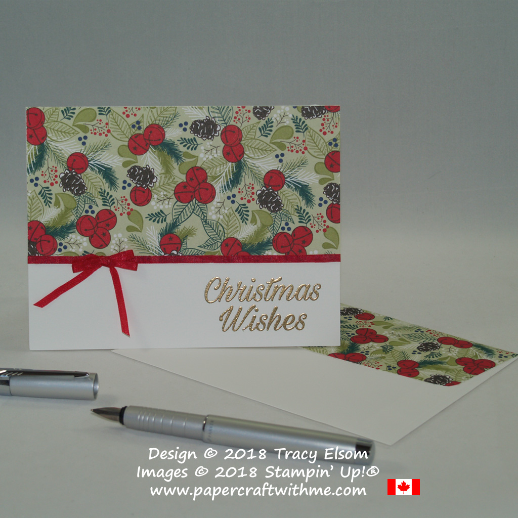 Simple Christmas card created using the Peaceful Poinsettia Stamp Set and Under the Mistletoe patterned paper from Stampin' Up!