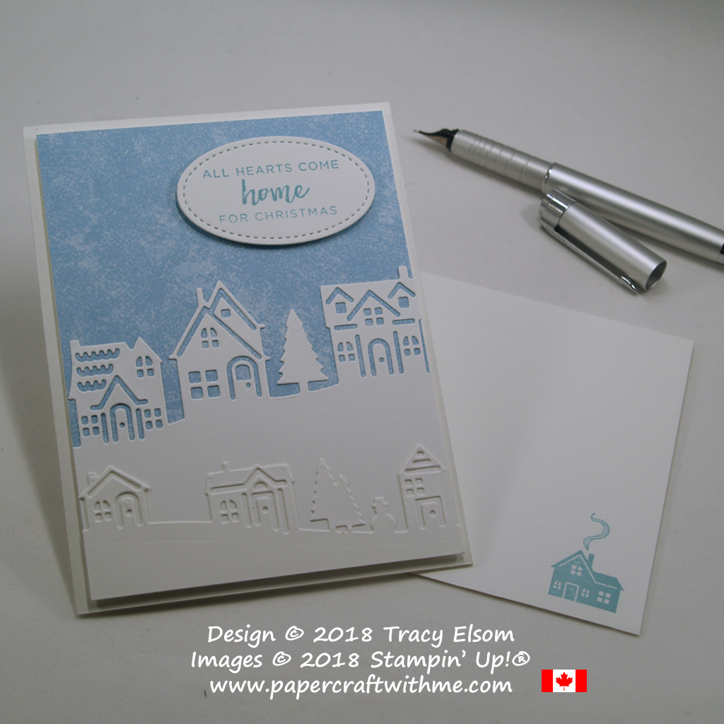Christmas card created using the Hearts Come Home Stamp Set and Hometown Greetings Edgelits Dies from Stampin' Up!