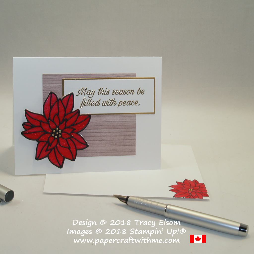 Christmas card with sparkling poinsettia embellishment created using the Detailed Poinsettia Thinlits Dies and Stampin' Blends alcohol markers from Stampin' Up!