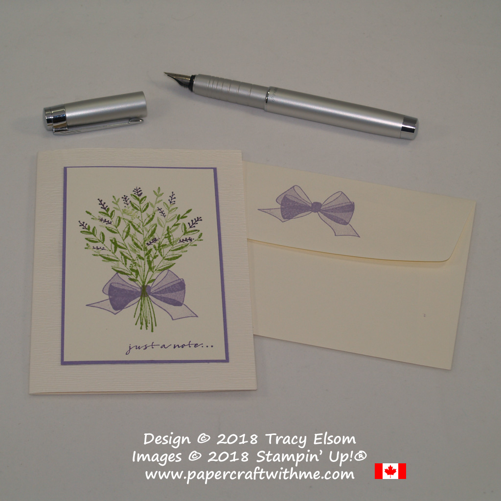 Lavender bouquet note card created using the Wishing You Well Stamp Set with background embossed using the Subtle Dynamic Textured Impressions Embossing Folder from Stampin' Up!