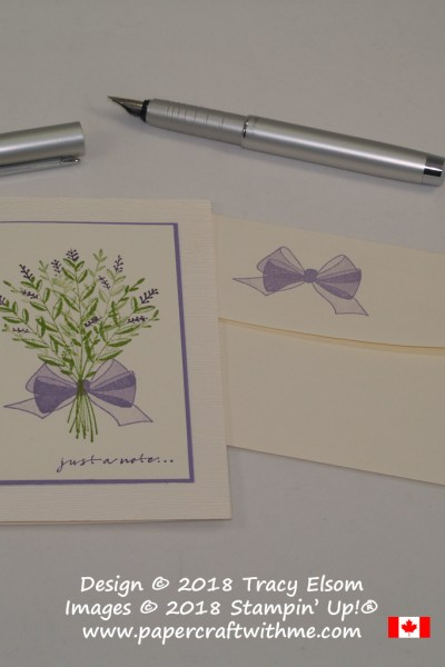 Lavender bouquet notecard created using the Wishing You Well Stamp Set with background embossed using the Subtle Dynamic Textured Impressions Embossing Folder from Stampin' Up!