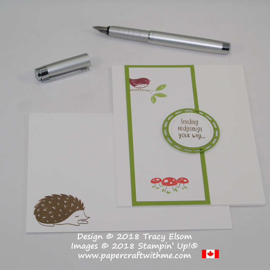 This simple card with 'sending hedgehugs your way' sentiment uses the marker to stamp technique on images from the Hedgehugs Stamp Set from Stampin' Up!