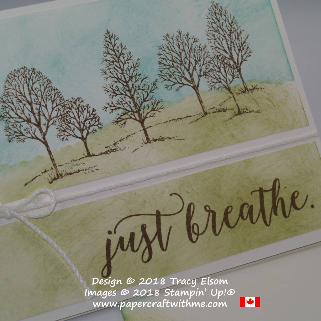 Close up of split scene card with a stamped image from Lovely As A Tree and 'just breathe' sentiment from Colorful Seasons over a sponged background.