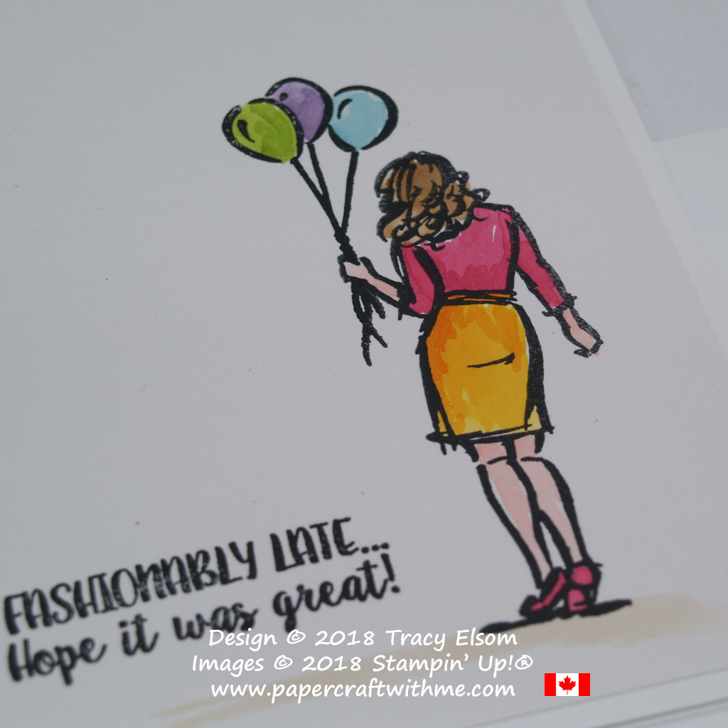 Close up of belated occasion card with girl and balloon images from the Wonderful Moments Stamp Set from Stampin' Up!