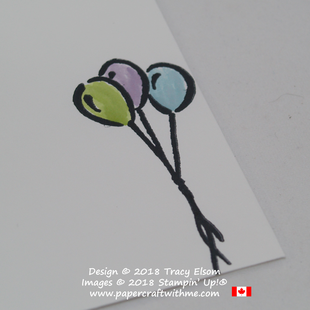 Close up of altered balloon image from the Wonderful Moments Stamp Set from Stampin' Up!