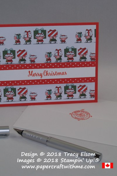 The elves are bringing in the presents on this quick and easy Christmas card using Santa's Workshop Specialty Designer Series Paper from Stampin Up!