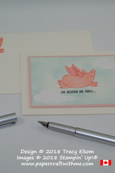 Card with 'she believed she could' sentiment created using the This Little Piggy Stamp Set from Stampin' Up!.